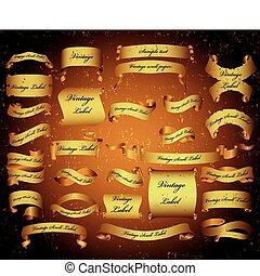 scrolls., ensemble, bannières, grand, vecteur, papier, vendange