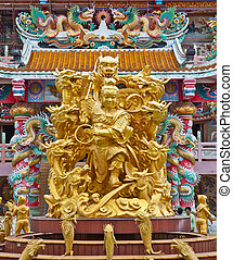sculpture, naja, temple, chinois