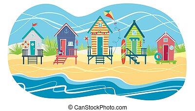 sea., illustration, plage, plat, contre, rang, huttes, vecteur, holiday., paysage, été