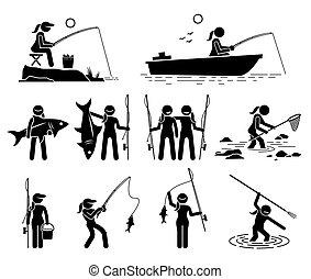 sea., lac, poisson attrapant, peche, femme, rivière