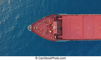 sea., voile, aérien, vue., pont, rouges, ouvert, bateau, cargaison