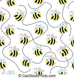 seamless, abeille miel, pattern.