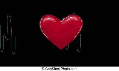 seamless, animation., exposer, ligne, pulsation, fond, écran, coeur, boucle, recherche, monde médical, taux