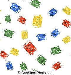 seamless, couleur, statut, blanc, arrière-plan., balances, modèle, vecteur, justice, icône, isolé, livre loi