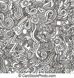 seamless, doodles, photographie, dessin animé, modèle