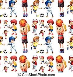 seamless, enfants jouer, sports