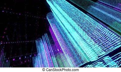 seamless, futuriste, numérique, particules, rendre, 3d, boucle, ville, matrix., binaire, couleur, network., code, bâtiments, nuit, résumé, animation, hologramme