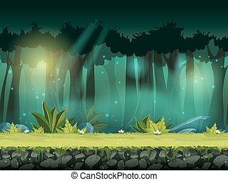 seamless, illustration, magique, vecteur, forêt, horizontal, brume