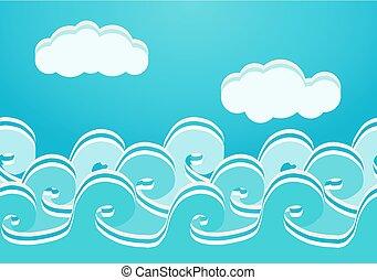 seamless, illustration, vecteur, modèle, mer, vagues