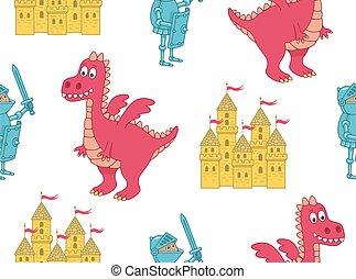 seamless, modèle, chevalier, dragon