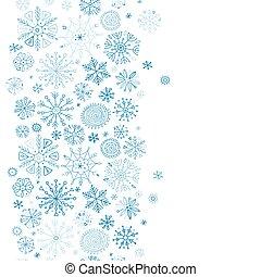 seamless, modèle, design., main, dessiné, ton, flocons neige