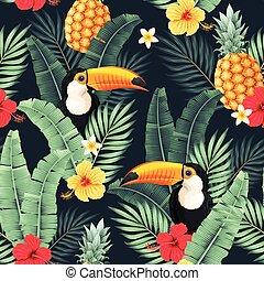 seamless, modèle, fleurs, vecteur, toucan