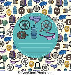 seamless, modèle, vélo, dessin animé, équipement