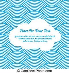seamless, papier, nuage blanc, vagues bleu, abstr, illustration