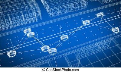 seamless., résumé, 3d, rue, système, 3840x2160, contrôle, numérique, hd, ville, voitures, intelligent, tout, transport, connecter, voiture, 4k, animation, échanger, ultra, autoroute, fait boucle, network., données