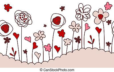 seamless, stylisé, croissant, horizontal, fleurs, frontière