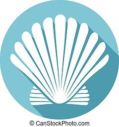 seashell, (sea, shell), plat, icône