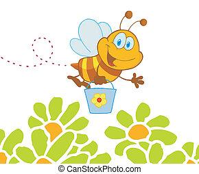 seau, jardin, voler, abeille