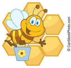 seau, onduler, porter, abeille