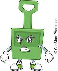 seau sable, vert, dessin, fâché, projection, dessin animé, figure
