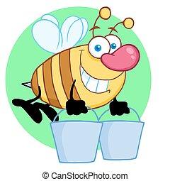 seaux, voler, abeille