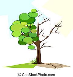 sec, arbre, vert