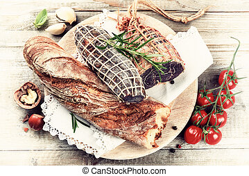 sec, baguette, sélection, viande, frais, amende