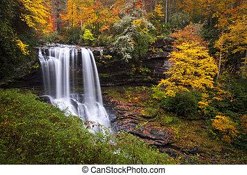 sec, bleu, pays montagne, arête, montagnes, nc, chutes, forêt automne, feuillage, chutes d'eau, gorge, automne, cullasaja