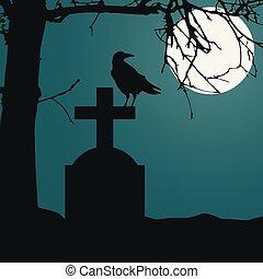 sec, entiers, ciel, séance, spooky, vecteur, cimetière, mort, lune, réaliste, arbre., vert, illustration, nuit, pierre tombale, corbeau