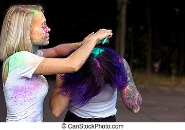 sec, femme, elle, peinture, verse, cheveux, festival, holi, ami
