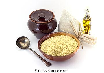 sec, renversé, céramique, bol, isolé, millet, millet., white.