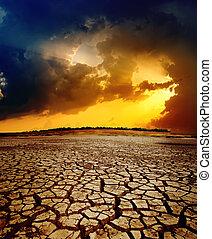 sec, sur, dramatique, coucher soleil, la terre, toqué