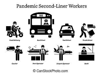 second-liner, virus, cliparts., ouvriers, pandémie