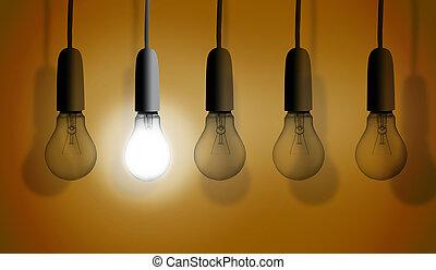 seconde, éclairage, ampoule