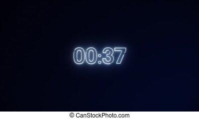 seconds., countdown., 10, minuteur, courant, compte rebours, 0, vitesse, secondes, lumière, 60, 1, noir, light., blanc, dynamique, cercle, ou, arrière-plan., néon, minute, 30