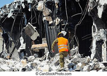 secours, bâtiment, par, désastre, décombres, recherche, après