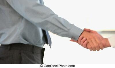 secousses, main, sien, homme affaires, collègue