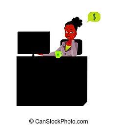secrétaire, bureau, séance, pensée, argent, jeune, femme affaires, bureau