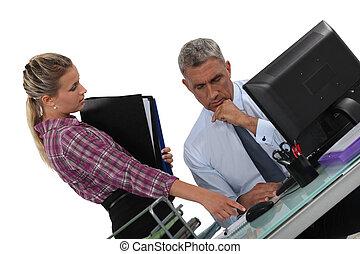 secrétaire, sien, work., patron