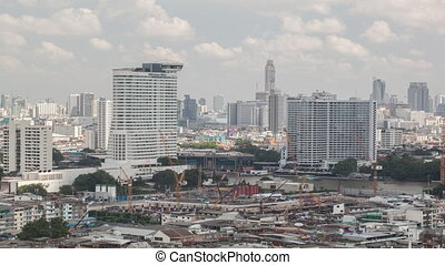 secteur, bangkok, coup, défaillance, temps construction, thaïlande