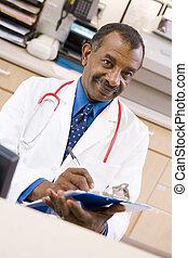 secteur, docteur, écriture, presse-papiers, réception, hospi