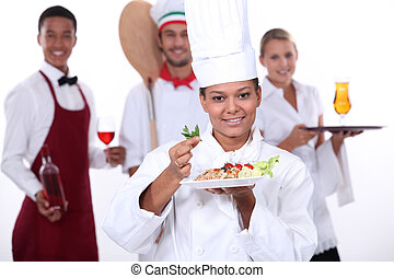 secteur, nourriture, personnel, restauration