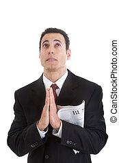 section affaires, haut, regarder, tenant journal, homme affaires, prier
