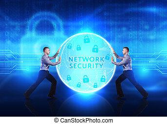 security:, business, concept., jeune, cyber, réseau, fournit, internet, homme sécurité, technologie
