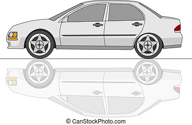 sedan, voiture, blanc, reflet