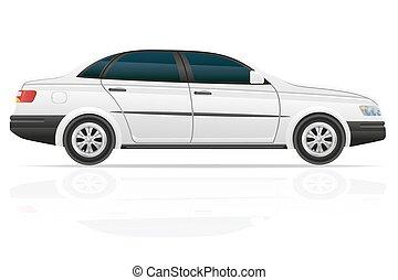 sedan, voiture, vecteur, illustration