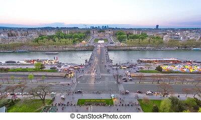 seine, timelapse., rivière, la, eiffel, paris, france, défense, tower., nuit, europe., trocadero, jour, vue