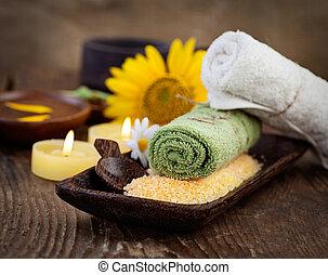 sel, ensemble, naturel, copyspace, dayspa, brun, wellness, nature, sunflower.., bain, massager, monture, bougies, spa, serviette
