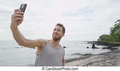 selfie, courant, photo, prendre, séance entraînement, sportif, homme