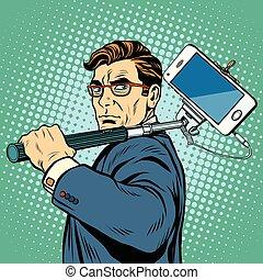 selfie, homme, smartphone, blogger